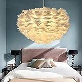 LMDH Lampadario a una sola testa con piume bianche, lampada da soffitto Lampadario a piuma in tricolore Nordic Creative Postmoderna minimalista Camera da letto Sala da pranzo E27 Illuminazione regolab