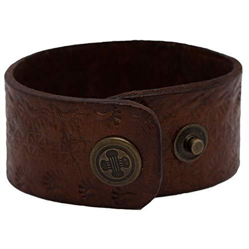 Afulki–Bracciale da Uomo in Vera Pelle a Mano chiusura a bottone vintage e Ottone, colore: Braun 18,5-20,5cm, cod. AB-01