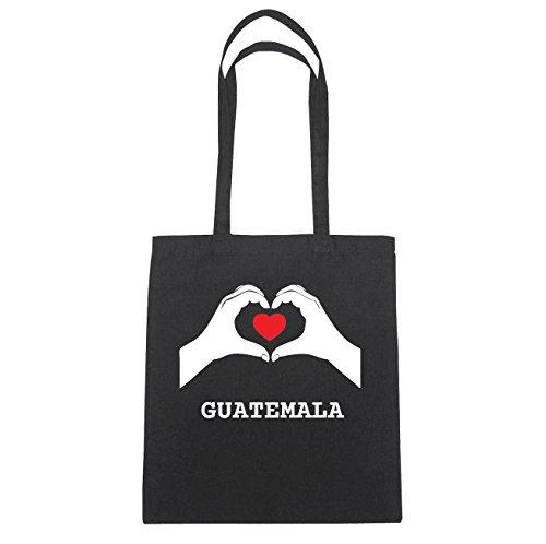 JOllify Guatemala di cotone felpato b4680 schwarz: New York, London, Paris, Tokyo schwarz: Hände Herz