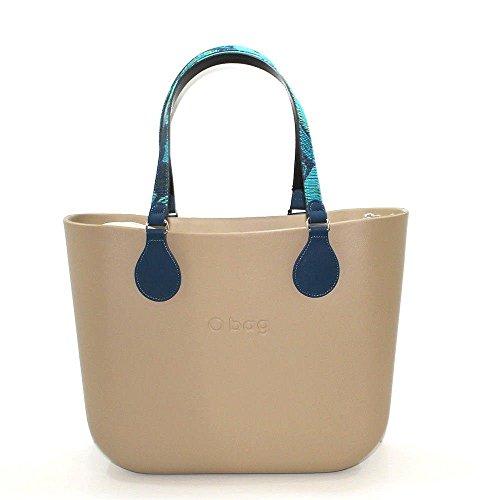 Obag borsa o bag grande sabbia con sacca interna, manico lungo piatto folk flower blu