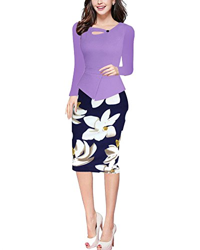 Donna Vestiti Elegante Stampato Floreale Abito dell'anca Pacchetto Vestito Maniche lunghe viola chiaro