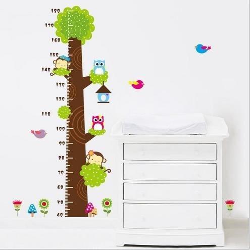 kimberleystore Creative Kid Höhe messen Diagramm Wandtattoo mit Eule und Affe Baum Decor (Baum-höhe-diagramm)