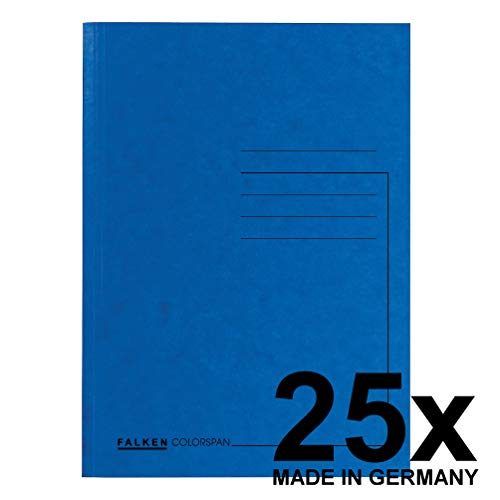 Original Falken 25er Pack Premium Aktendeckel. Made in Germany. Aus extra starkem Colorspan-Karton für DIN A4 blau Blauer Engel Hefter ideal für das Büro und Schule und die mobile Organisation