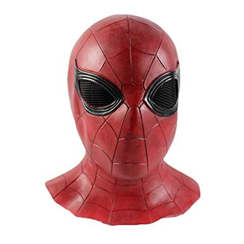 QWEASZER Erwachsene Spider-Man Heimkehr Maske, Spiderman Hood Helm Comics Held Kopfbedeckung Kostüm Cosplay für Erwachsene und Jugendliche Cosplay Maskerade Helm Halloween Maske,Red-53cm~63cm