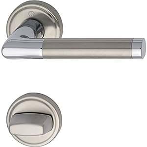 Hoppe Poignée de porte Capri avec rosace WC, laiton chromé/Inox, 2861365
