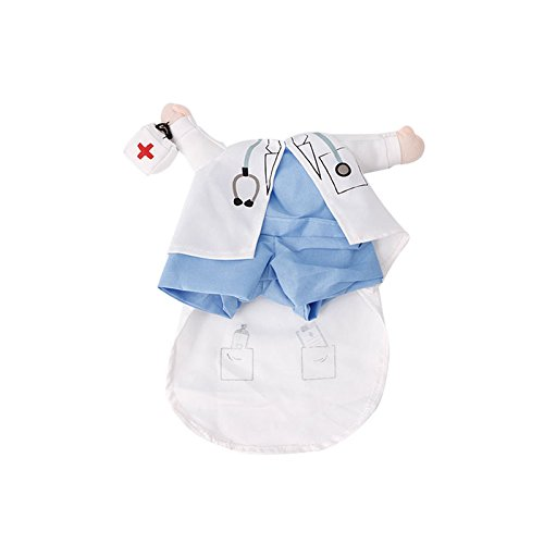 Qiuxiaoaa Hund Kleidung Vierbeiner Lustige Haustier Kostüm Hund Katze Kostüm Kleidung Kleid Bekleidung Arzt Polizist Cowboy Medium
