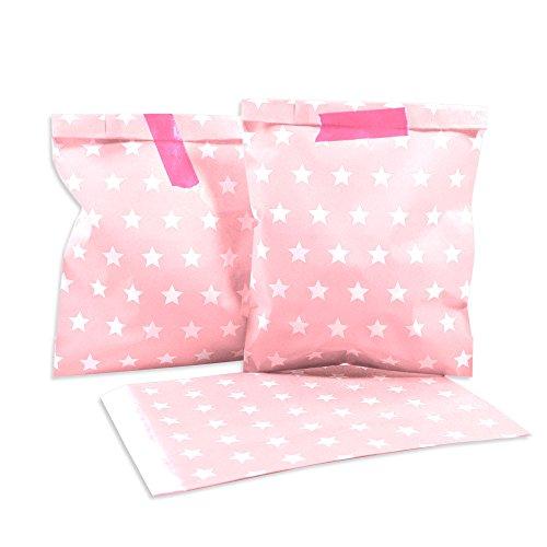 (25 Frau Wundervoll Papiertüten - rosa, weiße Sterne - / Geschenktüten / Candy Paper Bags)