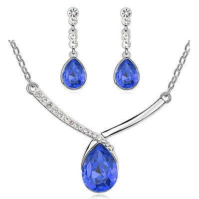 Da sposa a goccia con cristallo, colore: blu scuro-Set di collana e orecchini con pendenti S824