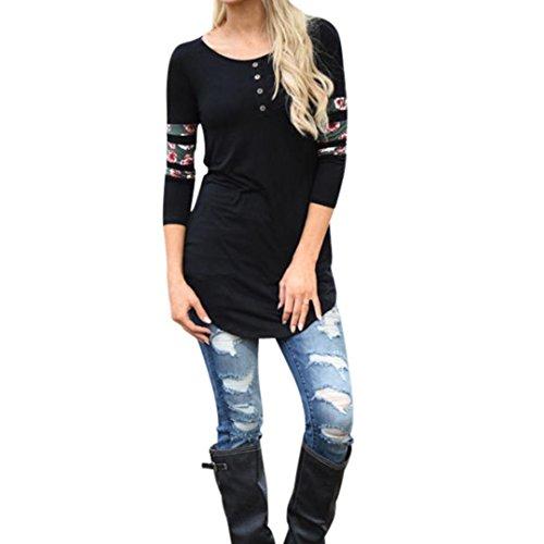 Camicia a maniche lunghe koly camicia a maniche lunghe in stampa donna maglietta casual maglia estiva maglietta (l, black)