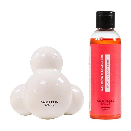 Amorelie Basics 2er- Massage Set - mit hochwertigem Massagestein und angenehm wärmendem Erdbeer Massageöl (100 ml) - ideal für die revitalisierende Ölmassage
