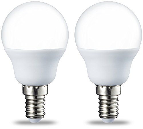 AmazonBasics Petite ampoule LED E14 P45 type globe, avec culot à vis, 5.5W (équivalent ampoule incandescente de 40W), blanc chaud - Lot de 2