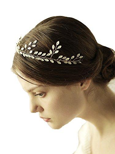 Göttin gold Stirnband Tiara–Bridal Hochzeit weiß Kristall Haar-Accessoires Mit Band (Toga Kostüme Mit Blättern)