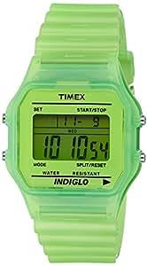 Timex T80Classic–T2N806Unisex Watch–Digital Quartz–Green Dial Green Resin Strap