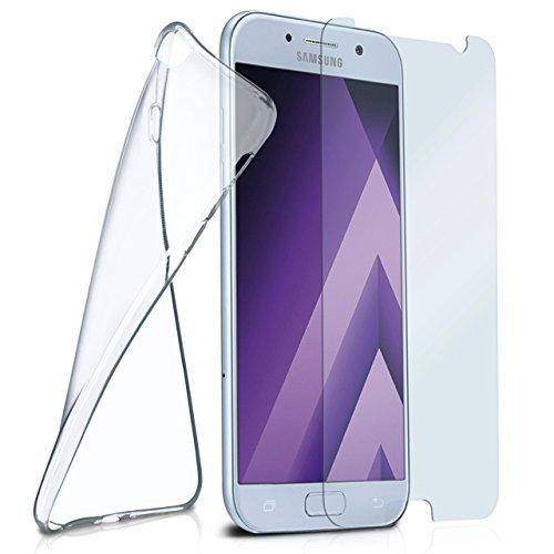 moex Silikon-Hülle für Samsung Galaxy A3 (2017) | + Panzerglas Set [360 Grad] Glas Schutz-Folie mit Back-Cover Transparent Handy-Hülle Samsung Galaxy A3 2017 Case Slim Schutzhülle Panzerfolie