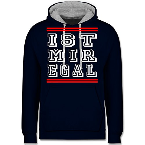 Statement Shirts - IST MIR EGAL - Kontrast Hoodie Dunkelblau/Grau meliert