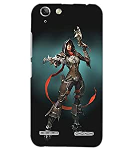 PrintDhaba FIGHTING GIRL D-6448 Back Case Cover for LENOVO A6020a46 (Multi-Coloured)