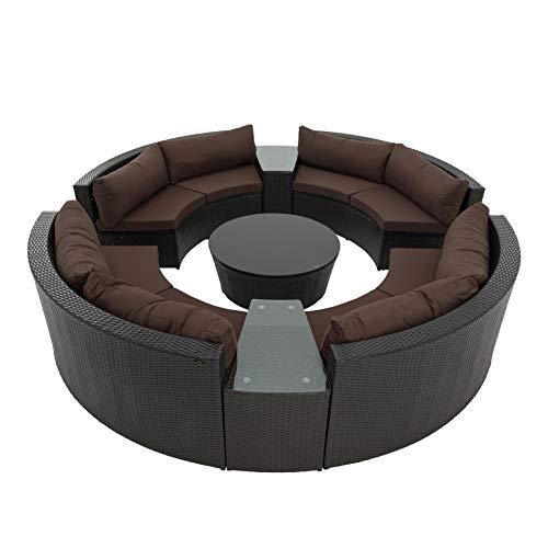 ESTEXO Poly-Rattan Sitzgruppe Garten-Möbel Set rund Gartensitzgruppe Outdoor Sonneninsel Garnitur Garten-Lounge 300 x 300 cm inkl. Tisch, Braun