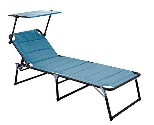 Meerweh Aluminium Gartenliege XXL mit Dach, Dreibeinliege gepolstert mit Quick Dry Foam, blau, 200 x 70 cm