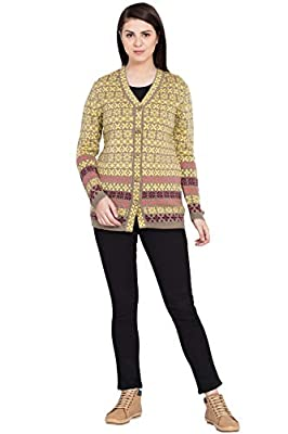 BOXYMOXY Designer Yellow Multi Color Woolen Wear Sweater Cardigan with Buttons for Girls & Women