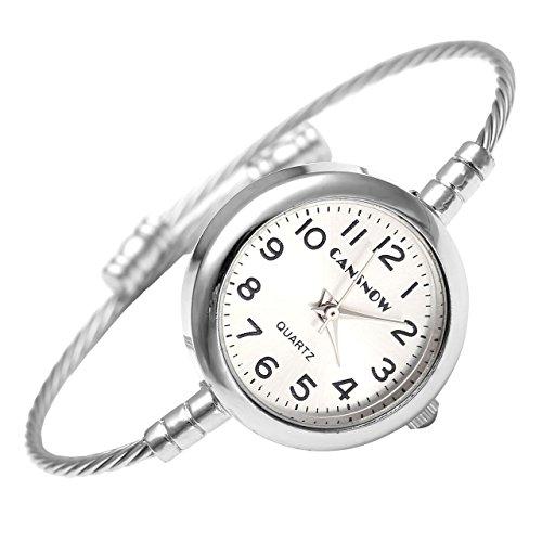 JSDDE Montre Quartz Alliage Simple Style Femme Montre-Bracelet en Fil d'acier Argent Candran Rond Blanc