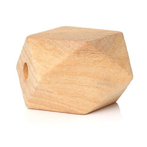 10Pz, forma a poligono, legno, perline geometriche, D. 26x 20mm, foro 4,3mm
