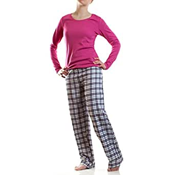 damen flanell schlafanzug pyjama hausanzug 100 baumwolle bekleidung. Black Bedroom Furniture Sets. Home Design Ideas