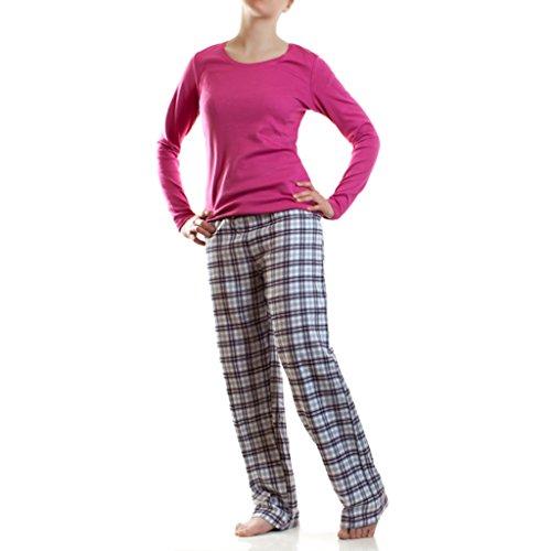 Damen Flanell Schlafanzug Pyjama Hausanzug 100% Baumwolle, Farbe: Fuxia / Langarm, Größe: M/L (42) (Damen-flanell)