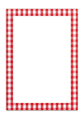 50 Blatt Briefpapier Druckerpapier ROT weiß kariert einseitig bedruckt RAHMEN 100g Schreibpapier Motiv-Papier DIN A4 Brief-Bogen Bayern bayerisch Design-Papier