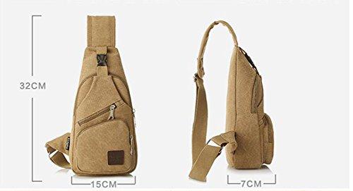 Leinwand Messenger Umhängetasche Kleine Schleudertasche Rucksack Khaki