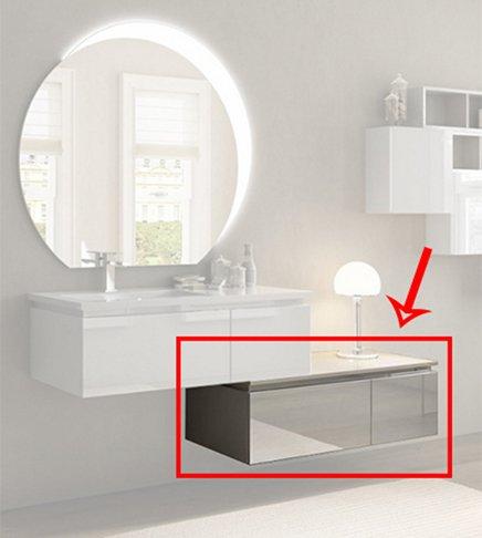 Arredobagnoecucine cajonera para Mueble de baño suspendido Moderno Avril Blanco Brillante, tamaño CM 100