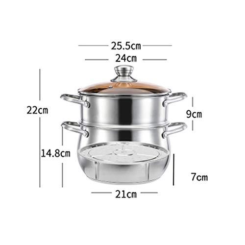 ZXDVJ14 Olla De Sopa De Acero Inoxidable con Tapa De Vidrio con Vaporera Compuesta De Vapor Inferior Cocina De Gas Hogar Pequeña Cocina Olla De Sopa De Avena