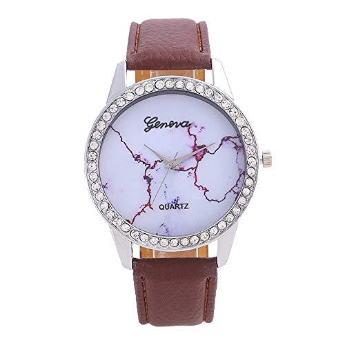 YEARNLY Mädchen mode einfache Gürteluhr Damenuhr Quarz Diamant runde Uhr Marmorchassis Mehrfarbig