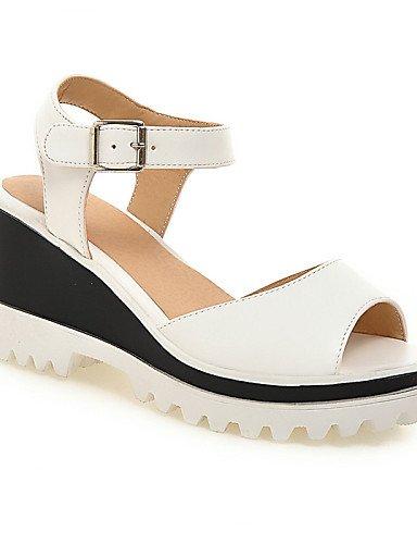 UWSZZ IL Sandali eleganti comfort Scarpe Donna-Sandali-Ufficio e lavoro / Formale / Casual-Spuntate / Plateau-Zeppa-Finta pelle-Blu / Rosa / Bianco White