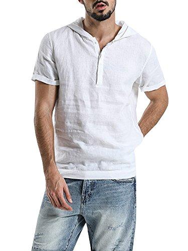 Herren Leinenhemd Sommer Kapuzenpullover Kurzarm Henley Freizeit T-Shirt (Tshirt Fisher)