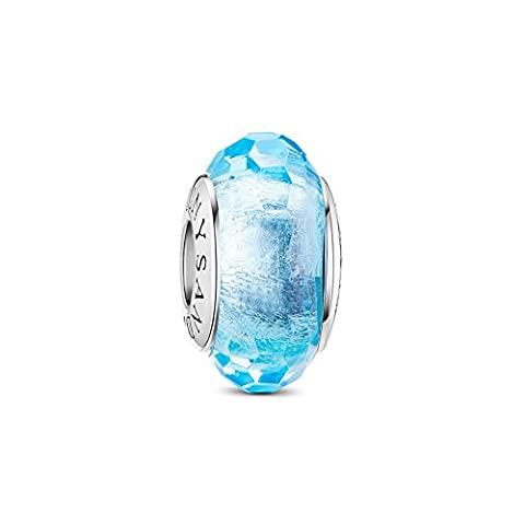 TINYSAND 925 Sterling Silver Charm Bead with March Birthstone Aquamarine Murano Glass Fit Europe Style Charm