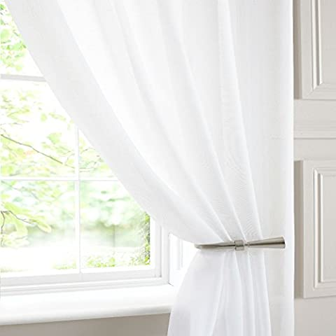 LINEN LOOK Plain Voile Panel Pure WHITE SEMI SHEER Ideal PATIO BAY BI FOLD This Panel Size: 150x135cm/59x53 by Showpiece Curtains and Voiles