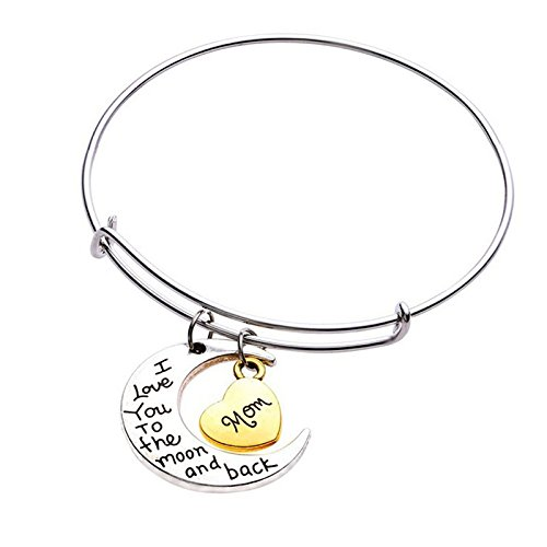 Jixing Women Adjustable Bangle Silver Plated '' Mom, ich Liebe Dich bis zum Mond & zurück '' Herz Anhänger Armreif erweiterbar Armband Muttertag Schmuck Geschenk