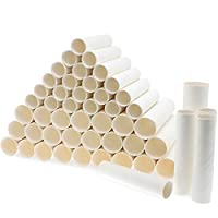 Bright Creations White Paper Cardboard Craft Tube Rolls (50-Pack) - 2 Sizes, 25 of Each, 15.2 and 19 cm Tall