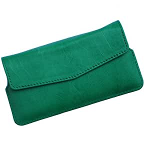 i-KitPit Quality PU Leather Pouch Case With Magnet Closure For Micromax Bolt A34 (GREEN)