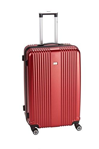 PURE Koffer SENSATION / Reisekoffer / Hartschale / Trolley / robustes PET / 4 Rollen / TSA Zahlenschloss (rot, S)