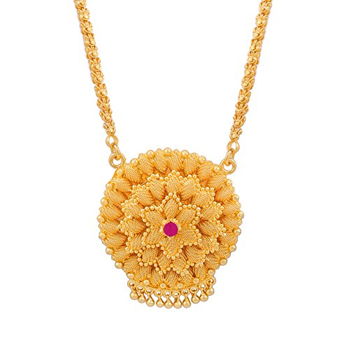 727d7dbc388d7 Bfc One Gram Gold Plated Pink Diamond Flower Designer Long Chain Necklace  For Women