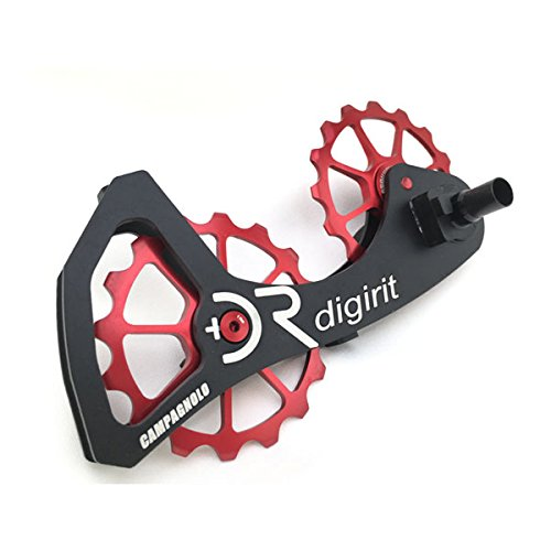 Digirit CPA 16/16T Bike Rear Derailleur Oversized Pulleys Wheel Set with Alloy Cage Carbon Pulley Ceramic Bearings for Campagnolo Super Record/Record -