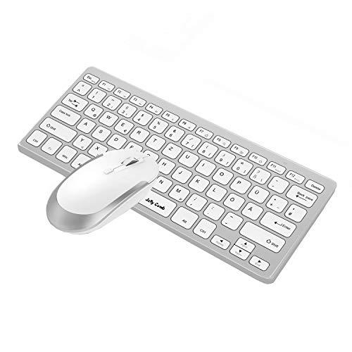 Jelly Comb Funkmaus und Tastatur Set, 2.4G Kabellose Ultraslim Mini Tastatur und Maus Combo, QWERTZ Deutsches Layout für MacBook, PC, Laptop, Smart TV, Weiß und Silber
