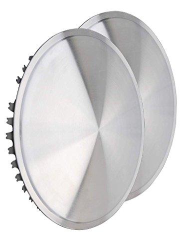 Preisvergleich Produktbild Universell passendes Radzierblendenset (2 Stück) 14 Zoll - Moon Caps für PKW,  Transporter,  Wohnwagen,  Anhänger,  Oldtimer,  Youngtimer (aus Edelstahl)