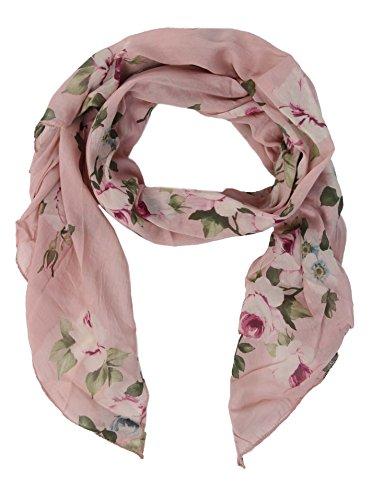 Zwillingsherz Seiden-Tuch Damen Blumen Muster - Made in Italy - Eleganter Sommer-Schal für Frauen - Hochwertiges Seidentuch/Seidenschal - Halstuch und Chiffon-Stola Dezent Stilvoll rosa