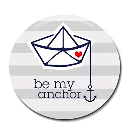 Polarkind Button Pin maritimer Anstecker Be My Anchor Ankermotiv 38mm Handmade