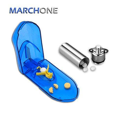 MARCHONE Blau Pillenteiler Tablettenteiler Exakt mit Pillendose Pill Cutter Tablet Cutter Medicine Cutter Pill box -