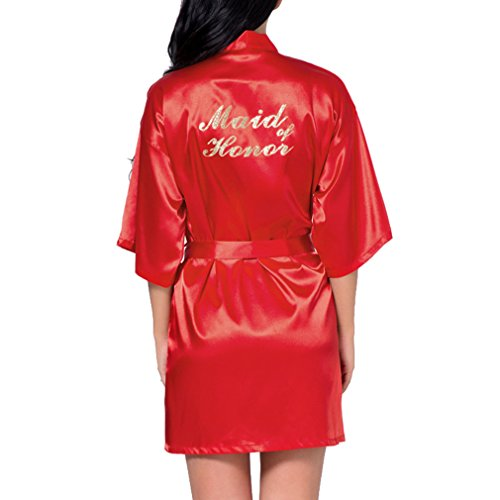 Fangcheng Brautjungfer Robe Hochzeit Braut Nachtwäsche Nachtwäsche Brautkleid Bademantel Nachthemd Nachtwäsche Nachthemd Homewear Red Maid of Honor
