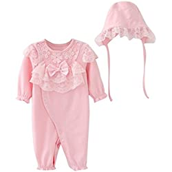Manadlian Body Bebe Fille Garcon, BéBé Enfants Filles Casquette Chapeau + Lace Barboteuse Combinaison Vêtements Ensemble (Hauteur: 60CM, Rose)