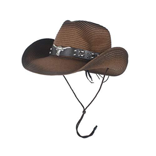 MUJUN 2019 Mode Sommer Western Cowboyhut Herren Stroh Cowgirl Party Kostüm Crimp Hut breiter Krempe Sonnencreme Strand Sonnenhut (Farbe : Kaffee, Größe : 56-58)